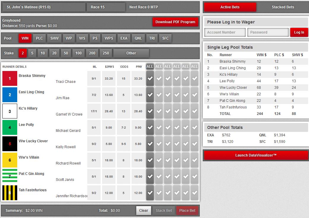 betting interface